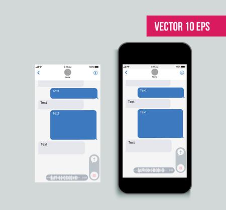 Mensajero de kit de interfaz de usuario móvil. Plantilla de aplicación de chat. Concepto de red social. Ilustración vectorial. Ilustración de vector