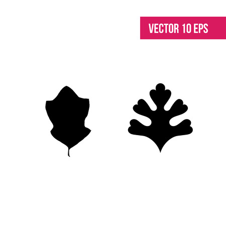 Leaves vector set. Leaves isolated from the background. Collection black silhouettes of leaves. Leaves sign.  herbarium. Illustration