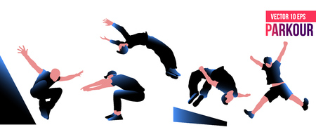 Silhouette of a guy engaged in parkour.Jumping. Vector silhouettes on white background.