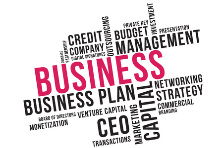 Business word cloud collage, business concept background. Venture capital.