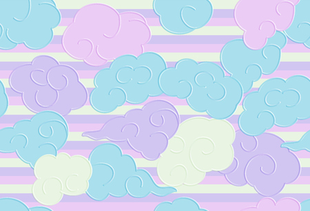 Seamless pattern with funny doodle clouds for prints, designs and coloring books. Cloud Rainbow  Seamless Pattern, Cartoon Vector Illustration, Nursery Background for Kid. Paper cut.