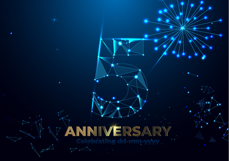 Anniversary 5. Geometric polygonal Anniversary greeting banner. gold 5d numbers. Poster template for Celebrating 3th anniversary event party. Vector fireworks background. Low polygon. Çizim