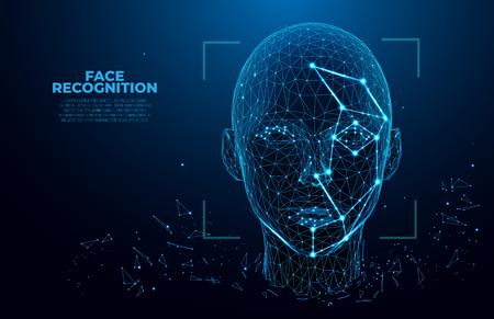 Concepto de sistema de reconocimiento facial. Reconocimiento facial. Escaneo 3D. Identificación facial. concepto de estructura metálica de vector. Diseño vectorial de polígono. escaneo biométrico. Ilustración de vector