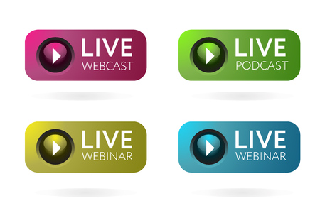Live Webcast, Podcast, Webinar Button, icon, emblem, label. Vector stock illustration.