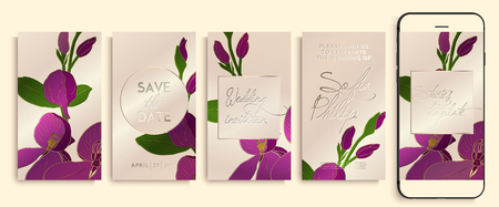 Editable story template pack with orchid flowers and leaves. social media stories wallpapers. Wedding invitation with rose and gold clover, leaves. Illustration