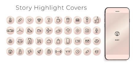 Destacados Historias Cubre iconos de línea. Perfecto para blogueros. Juego de 40 fundas de mechas. Archivo vectorial completamente editable.