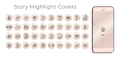 Highlights Stories Covers line Icons. Perfect for bloggers. Set of 40 highlights covers. Fully editable vector file. Illustration