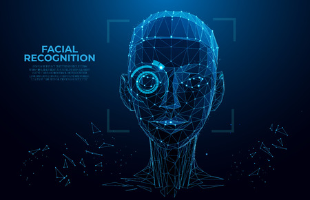 Face Recognition. Cyber women, Robot face. Facial Recognition System concept. biometric scanning, 3D scanning. Face ID. Identification of a person. Polygon vector wireframe concept.
