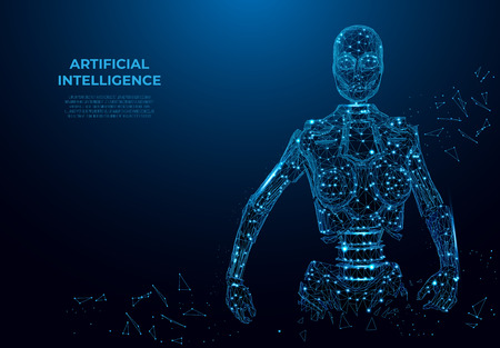 Artificial intelligence in virtual reality.Robot in the form of a starry sky or space, vector wireframe concept. Vector polygonal image, mesh art.