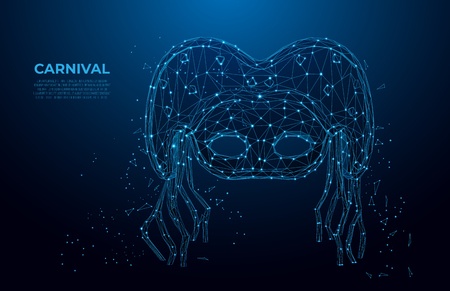 Carnival mask low poly wireframe. Masquerade party banner, elegant mask with diamond on dark blue background.  Polygonal wireframe mesh art, poly low. Иллюстрация