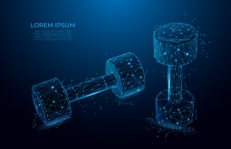Barbell. Sport, fitness gym concept. Design for sports club, workout and bodybuilding.  Gym Dumbbell Weights. Vector. Polygon vector wireframe concept. mesh art. Иллюстрация