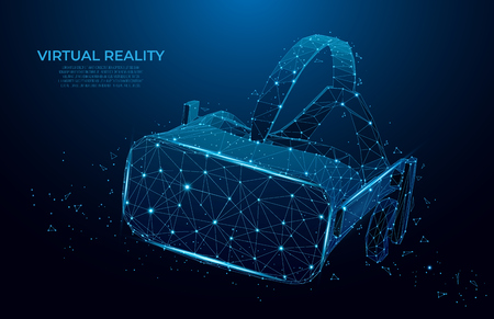 VR headset holographic projection virtual reality glasses, helmet. low poly wireframe geometric vector illustration. Particles, lines and triangles on blue background. mesh art.