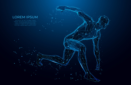 Human body low poly wireframe.  Athlete, Running man from triangles, low poly style. sport concept. Vector polygonal futuristic image. Polygonal wireframe mesh art.