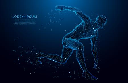 Menschlicher Körper Low-Poly-Drahtmodell. Athlet, laufender Mann aus Dreiecken, Low-Poly-Stil. Sportkonzept. Polygonales futuristisches Vektorbild. Polygonale Wireframe-Mesh-Kunst.
