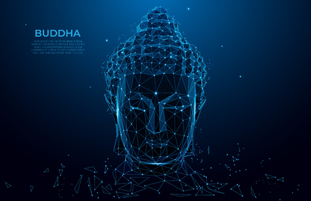 Buddha head silhouette low poly wireframe. Thai culture concept with buddha, low poly style.  Vector polygonal wireframe mesh art.