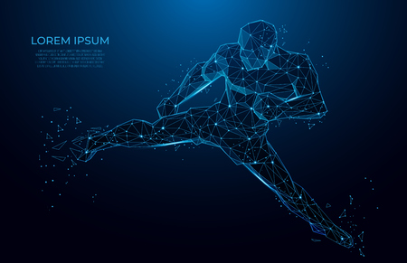 Human body low poly wireframe. athlete boxer. Sport, Fitness poster with man kickboxer from triangles, low poly style. Vector polygonal futuristic image. Polygonal wireframe mesh art. Иллюстрация
