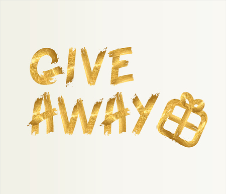 Giveaway Banner Card. Lettering with Golden Glitter Effect. Gold design.  Hand drawn brush script letters on light background. Иллюстрация