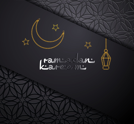 Ramadan Kareem concept banner with islamic geometric patterns, crescent moon and star. Paper cut 3d moon and stars on black background. Vector illustration.