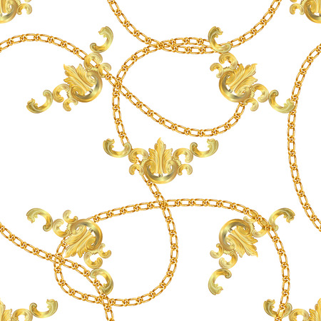 Baroque print with golden chains, golden key, pearls,  belts, baroque elments. Seamless Baroque vector pattern. Vector patch for print, fabric, scarf design.