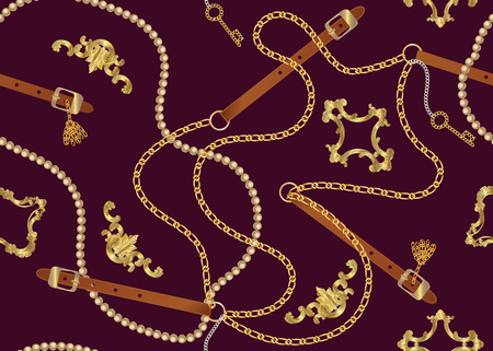 Seamless pattern with belts, chain, braid, Golden Key and pearls.  Baroque print with jewelry elements. Background for fabric design.