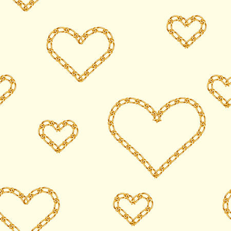 Seamless pattern with golden heart chain. Golden Chain Ornament for Fashion Prints.