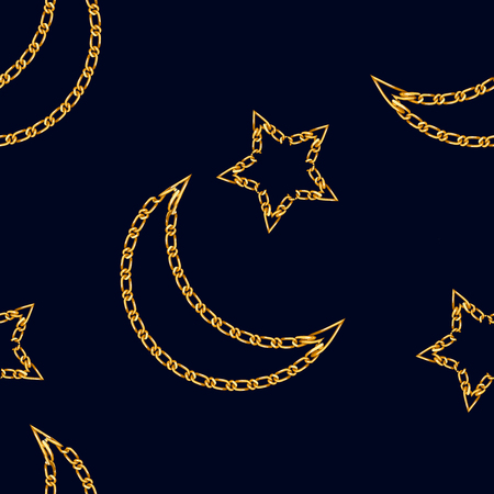 Seamless pattern with crescent moon chain and star symbol. Golden Chain Ornament for Fashion Prints. Star and crescent moon symbol of islam.  1t