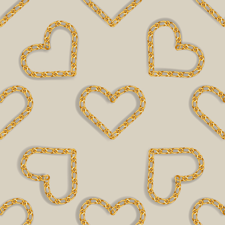 Seamless pattern with golden heart chain. Golden Chain Ornament for Fashion Prints. 1t