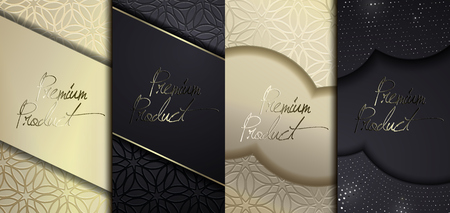 Luxury Premium design. Vector set packaging templates with different texture for luxury products. Collection of design elements with golden foil. Black paper cut background. VIP design. Иллюстрация