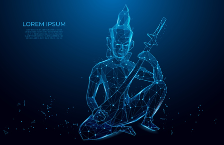 Statuette monk playing instrument. abstract pattern with monk with stringed instrument on blue background. Polygon vector wireframe concept. Иллюстрация
