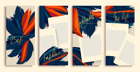 Trendy editable stories templates with blue and orange flowers, vector illustration. Design backgrounds for social media stories.