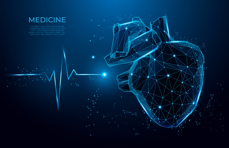 Abstract heart beat form lines and triangles, point connecting network on blue background. 3d medicine model low poly. Иллюстрация