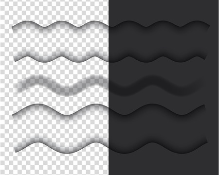 Vector shadows isolated. Set of wavy shadow effects. Design elements. Иллюстрация