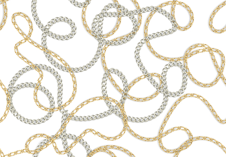 Seamless Baroque print with golden realistic chains, belts for fabric design. Seamless  vector pattern. Иллюстрация