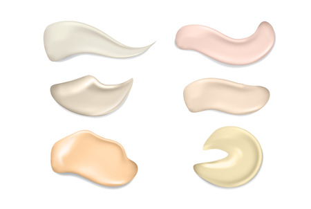 3d realistic concealer smear. Foundation beige liquid .Cosmetic make up. Vector make up beauty illustration. Liquid foundation daub. Smudged tone cream.