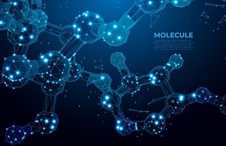 Scientific molecule background for medicine, science, technology, chemistry.  DNA digital, sequence, code structure. Science concept and nano technology background. Polygon vector wireframe concept.
