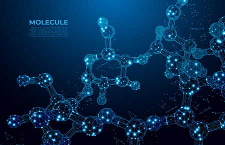 Scientific molecule low poly wireframe background for medicine, science, technology, chemistry.  Wallpaper or banner with a DNA molecules. Polygonal wireframe futuristic image.