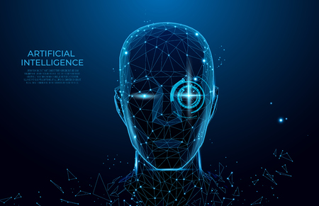 Robot or cyborg man with AI. Robot with artificial intelligence.  Machine, learning. Biometric scanning, 3D scanning. Face ID. Face recognition. scan technology. Polygon vector wireframe concept. Ilustração