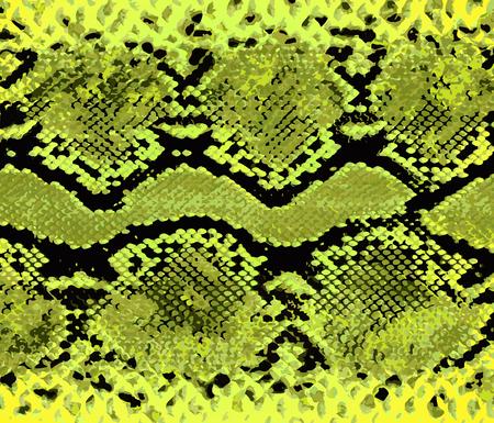 Gelbes Muster der Schlangenhaut. Textur Schlange. Modischer Druck. Mode und stilvoller Hintergrund.
