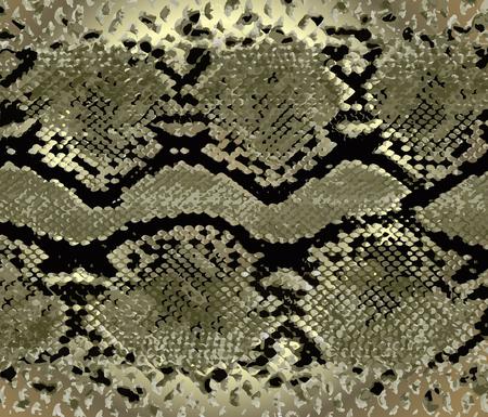 Schlangenhaut-Goldmuster. Textur Schlange. Modischer Druck. Mode und stilvoller Hintergrund. Vektorgrafik