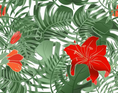 Reticolo senza giunte floreale di foglie monstera, ibisco e uccelli. Piante tropicali, foglie di palma. Modello estivo senza cuciture con alberi esotici e uccelli esotici. Sfondo vettoriale. Vettoriali