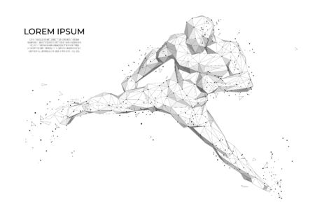 Abstract athlete Abstract athlete boxer. Human body low poly wireframe.  Abstract Sport, Fitness poster with man kickboxer from triangles, low poly style. Vector polygonal futuristic image. Polygonal