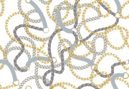 Imprimé baroque sans couture avec chaînes réalistes dorées, tresse, ceintures, gland pour la conception de tissu. Modèle de gland de chaîne de ceinture tressée vectorielle continue.