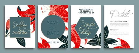 Wedding invitation with flowers and leaves on gold, dark texture. luxury card on gold backgrounds, artistic covers design.  Luxury wedding invitation frame set. luxury premium brochure Иллюстрация
