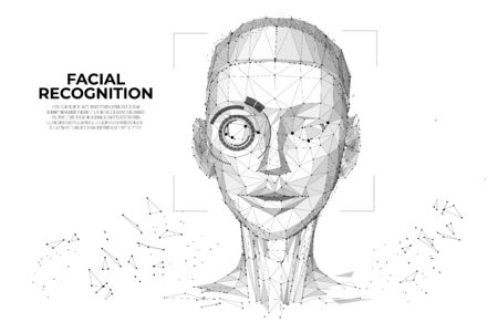 Facial Recognition System concept. Face Recognition. Cyber women, Robot face. biometric scanning, 3D scanning. Face ID. Identification of a person. Polygon vector wireframe concept. Иллюстрация