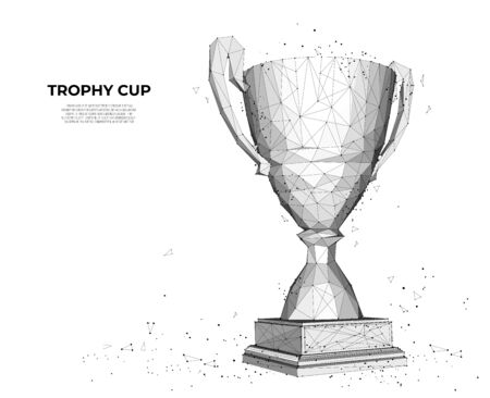 Trophy cup from lines and triangles, point connecting network on white background. champions cup. Polygon vector wireframe concept, mesh art