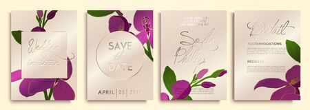 Wedding invitation with flowers and leaves on gold, pink texture. luxury card on gold backgrounds, artistic covers design, colorful texture.