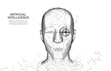 Robot or cyborg man with AI - artificial intelligence. facial recognition.  Biometric scanning, 3D scanning. Face ID.  scan technology.Polygon vector wireframe vector. RPA.