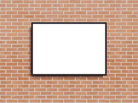 Mock up poster with loft interior background. Frame on the wall. Photoframe mock up. Simple empty framing for your business design. Brick wall. Vector template for picture, painting, poster. Иллюстрация