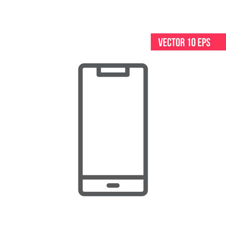 Mobile Phone Line Icon. Smartphone with white screen vector.