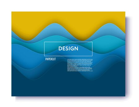 Abstract background with paper cut shapes. Used design presentations, print,flyer,business cards,invitations, calendars,cover. abstract blue sea and beach summer background with paper. Иллюстрация